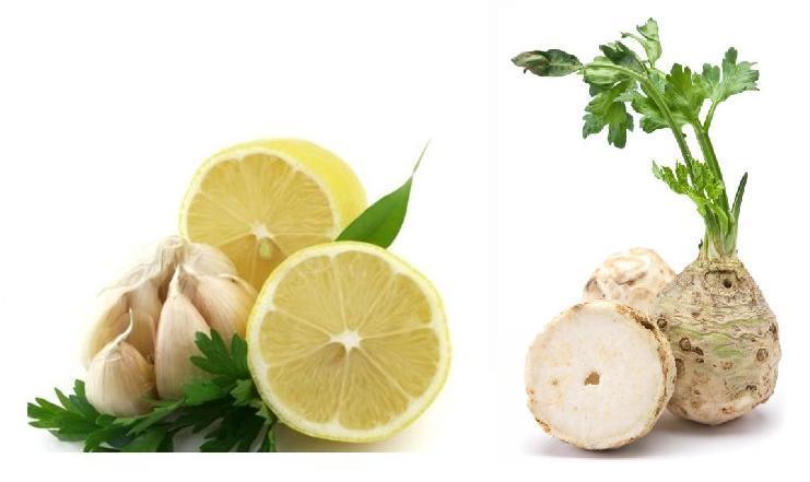 Сельдерей и лимон для приготовления растирки