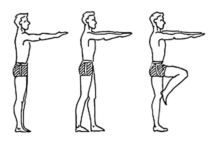 Положение тела в пробе Ромберга