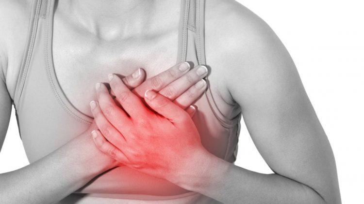 Сдавливающая боль в левой половине грудной клетки