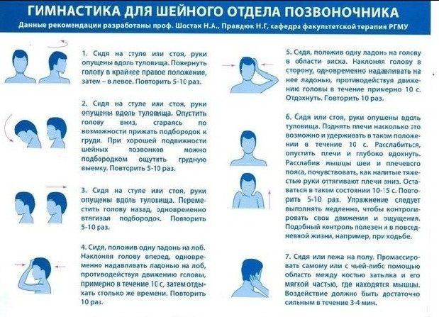 Описание упражнений при шейном остеохондрозе
