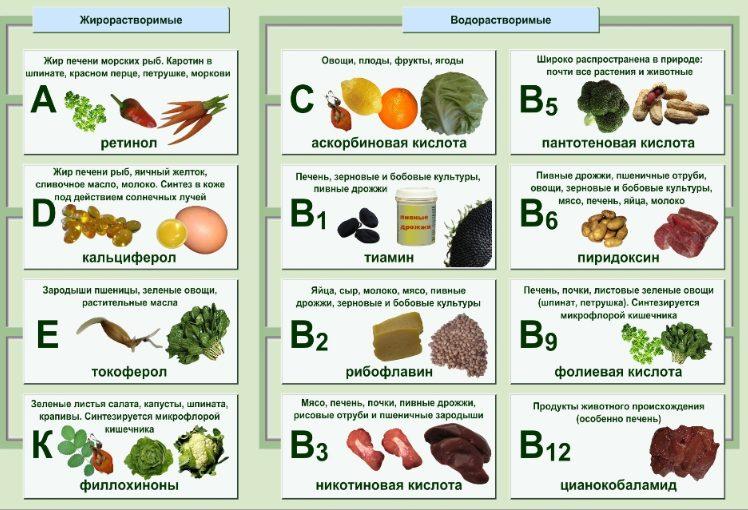 В каких продуктах можно найти витамины
