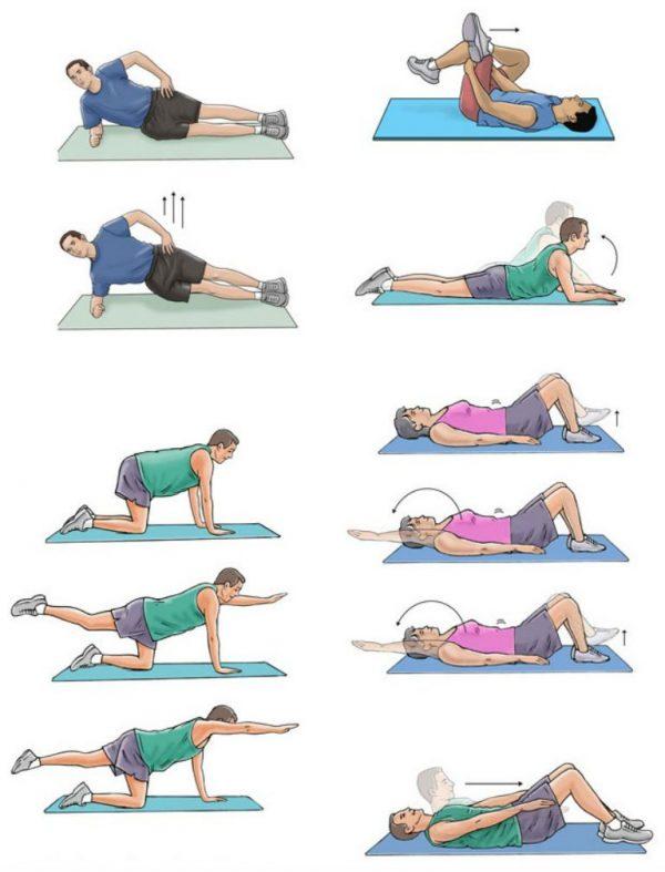 Выполнение упражнений в положении лёжа